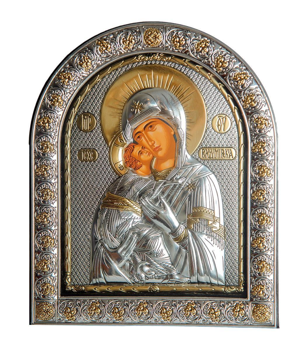 Владимирская 21х26см Серебряная Икона Божьей Матери под Стеклом обтянута в темную кожу ( Греция )
