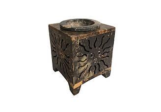 Аромалампа каменная квадратная Pashan Kala 9х7.5х7.5 см Коричневый АРТ.511, КОД: 1369630
