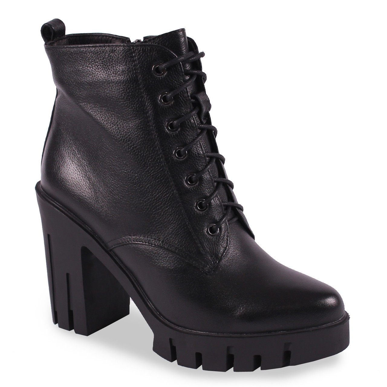 Модные  женские ботинки Brocoly(кожаные, черные, зимние, на шнуровке, на каблуке, удобные, бренд)