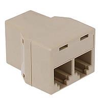 Переходник разветвитель Lesko RJ11 2 гнезда для прокладки телефонных кабелей 3302-8964, КОД: 1391701
