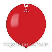 """Латексный воздушный шарик 19"""" пастель 45 красный 1шт Gemar"""