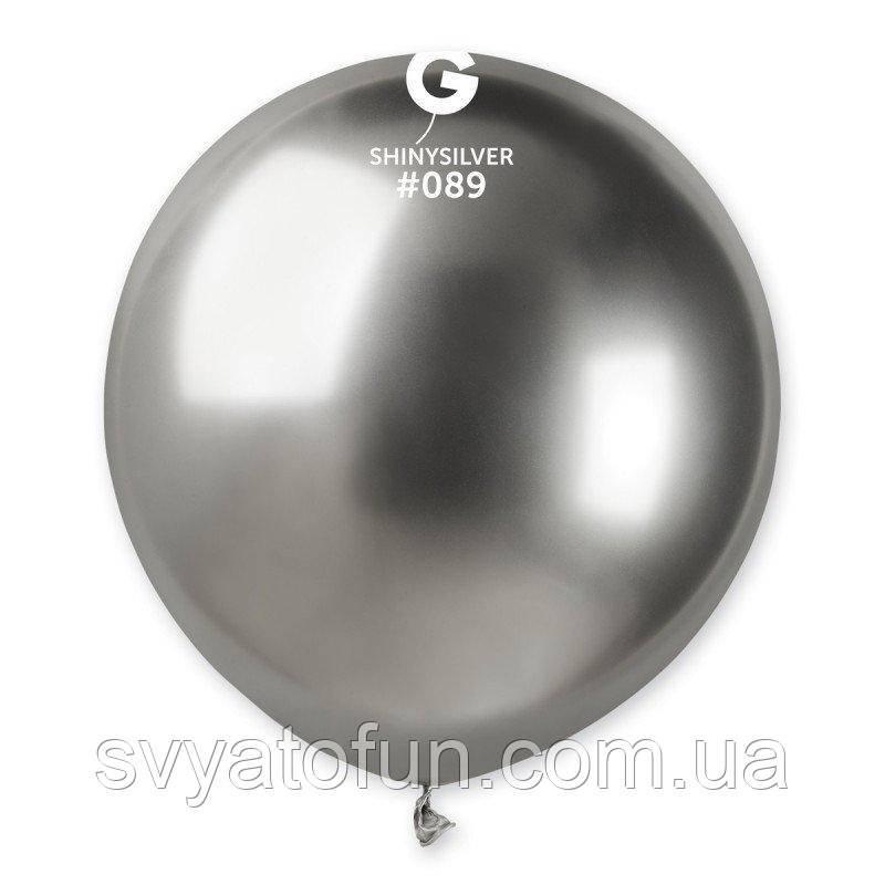 """Латексний повітряна кулька 19"""" металік хром 89 срібло 1шт Gemar"""