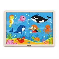 Деревянный пазл Viga Toys Морские обитатели, 16 элементов (51451)