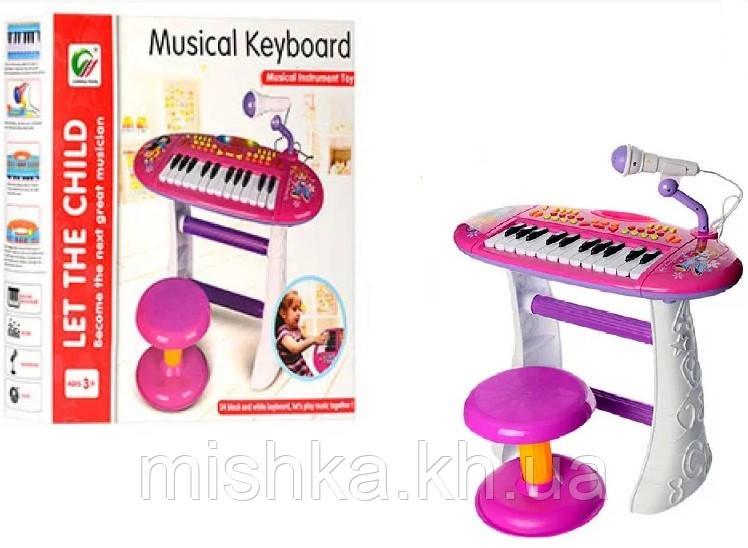 Дитяче піаніно для дівчинки зі стільчиком