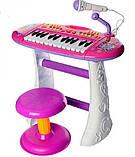 Дитяче піаніно для дівчинки зі стільчиком, фото 2