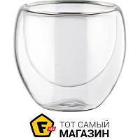Прозрачный набор стаканов для кофе без рисунка - Bodum Pavina 80мл 2шт. (4557-10) ( двойные стенки ) - материал стекло
