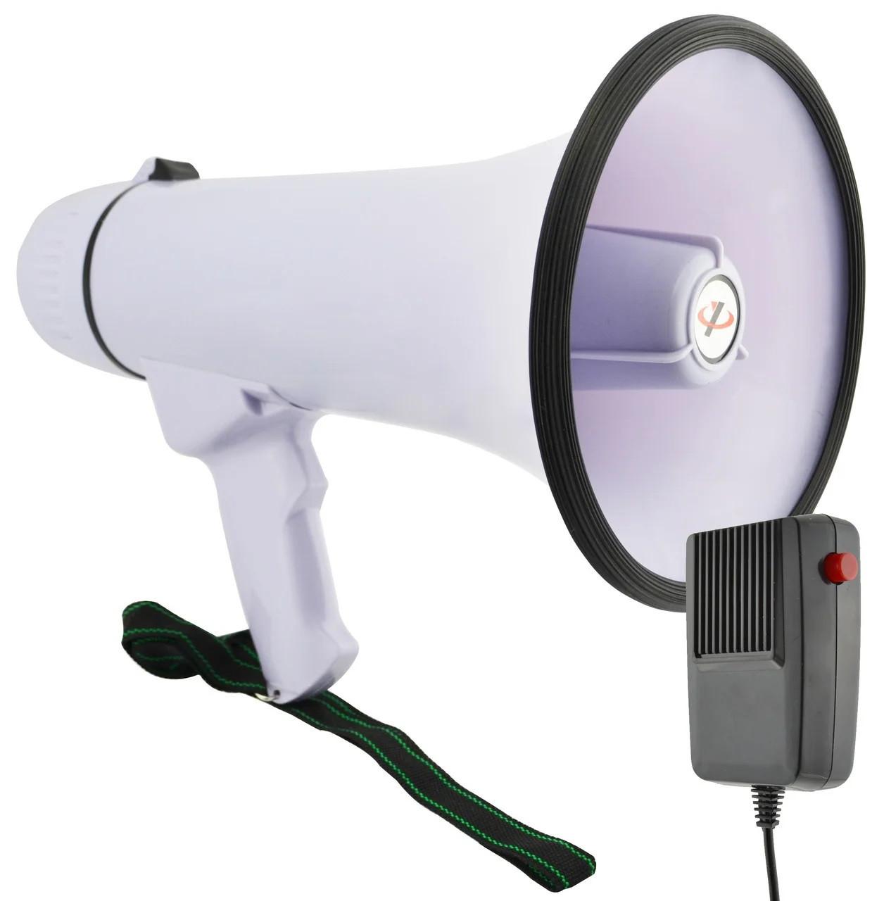 Ручной мегафон рупор громкоговоритель большой HW-20B 30W дальность 300м с выносным микрофоном