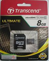 Карта памяти microSDHC Transcend 8Gb class 10 (adapter SD)