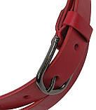 Женский кожаный ремень, пояс Skipper, красный 3 см, фото 4