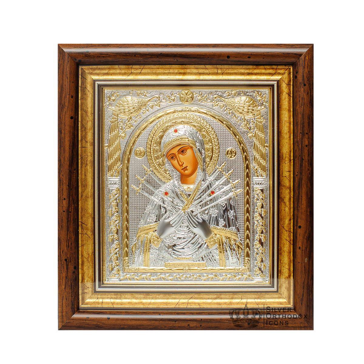 Икона  серебряная Божией Матери Семистрельная 30,5х28,5 см прямоугольной формы под стеклом