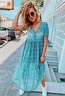 Шифоновое платье с коротким рукавом в горох Clew - бирюзовый цвет, S (есть размеры)