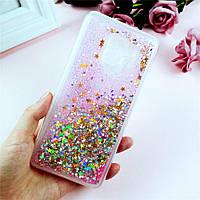 Чехол Glitter для Samsung A8 2018 / A530 бампер Жидкий блеск звезды Розовый УЦЕНКА