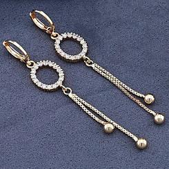 Серьги подвески Xuping Jewelry круги с фианитами медицинское золото позолота 18К А/В 5910