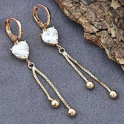 Серьги подвески Xuping Jewelry алмазное сердце медицинское золото позолота 18К А/В 5911