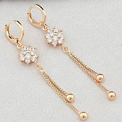 Серьги подвески Xuping Jewelry алмазный цветочек медицинское золото позолота 18К А/В 5912