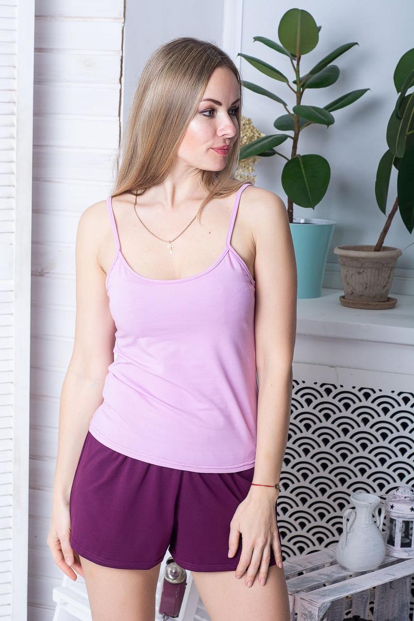 Хлопковая женская пижама П1102 Розовый+сливовый XS (40-42)