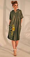 Платье Golden Valley-4688 белорусский трикотаж, олива, 46