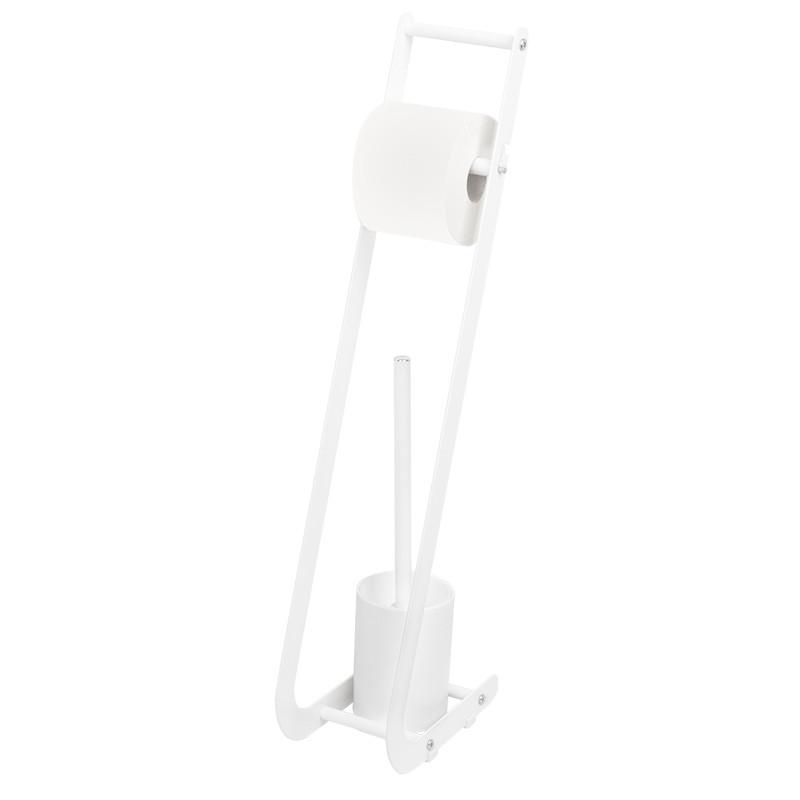 Стойка туалетная для туалетной бумаги и щетки белая AWD02071450