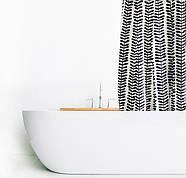 Шторка для ванной черно-белые лепестки AWD02101473, фото 2