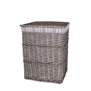 Корзина для белья плетеная с крышкой серая AWD02241578