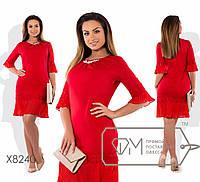 Нарядное женское прямое платье больших размеров с воланом внизу и на рукавах  (р.48-54). Арт-2489/15