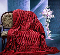"""Меховое покрывало на двуспальную кровать"""" Норка"""" бордовая."""