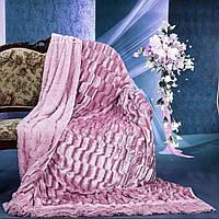 """Меховое покрывало на двуспальную кровать"""" Норка"""" розовая."""