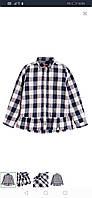 Стильная хлопоковая рубашка для девочки, хлопоковая, темносиняя в клетку, Cool baby, 140, 146, 158  ПОЛЬША