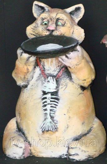 Скульптура Кот с блюдцем (шамот)