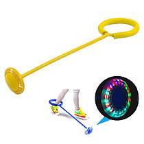 Скакалка на ногу светящаяся, скакалка крутилка с колесиком разные цвета