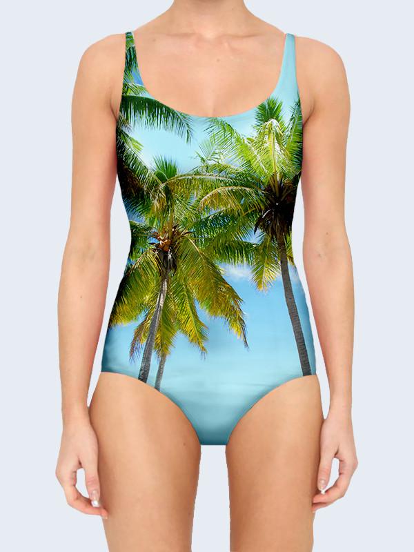Женский купальник Пальмы на голубом