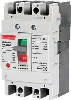 Силовий автоматичний вимикач e.industrial.ukm.60S.10, 3р, 10А, фото 2