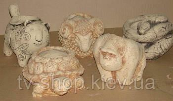 Кашпо из шамота Звери (2 вида)