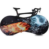 Чехол для колес велосипеда пылезащитный для хранения в помещении. Размер L 27.5-29. Лед и пламя.