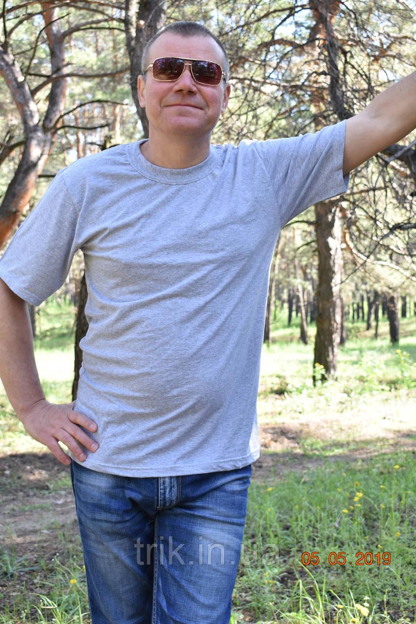 Серая мужская футболка хлопок 100% меланж