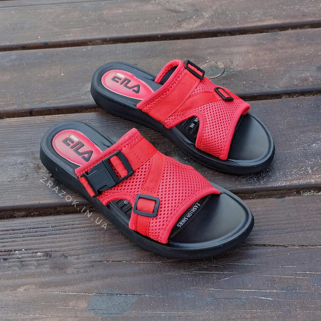 Шльопанці в стилі Fila літні червоні пляжні шльопанці жіночі тапочки червоні пляжні жіночі
