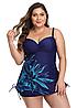 Купальник танкіні жіночий великих розмірів 50 - 60 Katarina синій з принтом блакитний