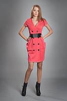 Платье женское модель №151, размеры 42-44,44-46 коралл и серое