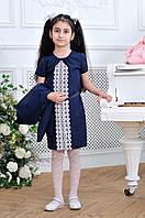 Детский школьный костюм для девочки сарафан+кардиган 7-12 лет, чёрного и темно синего цвета