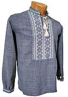 Классическая мужская рубашка с длинным рукавом с воротником стойкой, фото 1