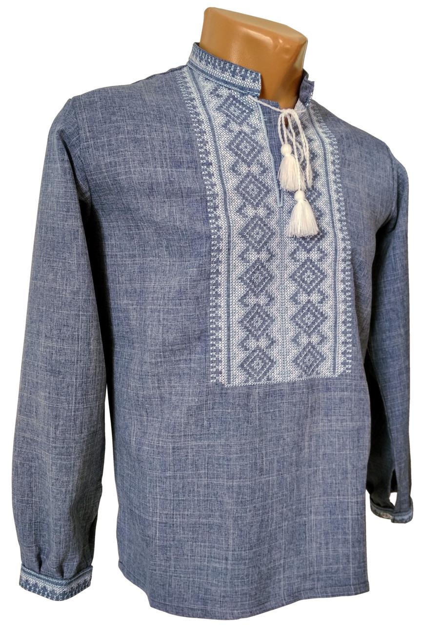 Мужская вышитая рубашка с длинным рукавом с геометрическим орнаментом