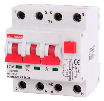 Вимикач диференційного струму з захистом від надструмів e.rcbo.pro.4.C16.30, 3P+, фото 2
