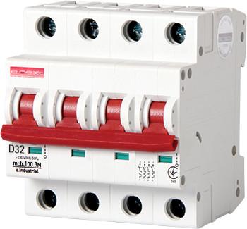 Модульний автоматичний вимикач e.industrial.mcb.100.3N.D32, 3р+N, 32А, D, 10кА