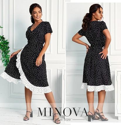 Платье летнее батальное из штапеля  цвет черно-белый Minova Размеры: 48-50, фото 2