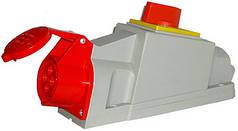 Силовая розетка с выключателем стационарная 3Р + Z, 400В, 32А, IP44