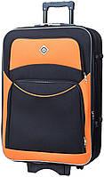 Дорожный чемодан на колесах Bonro Style маленький чёрный с оранжевым