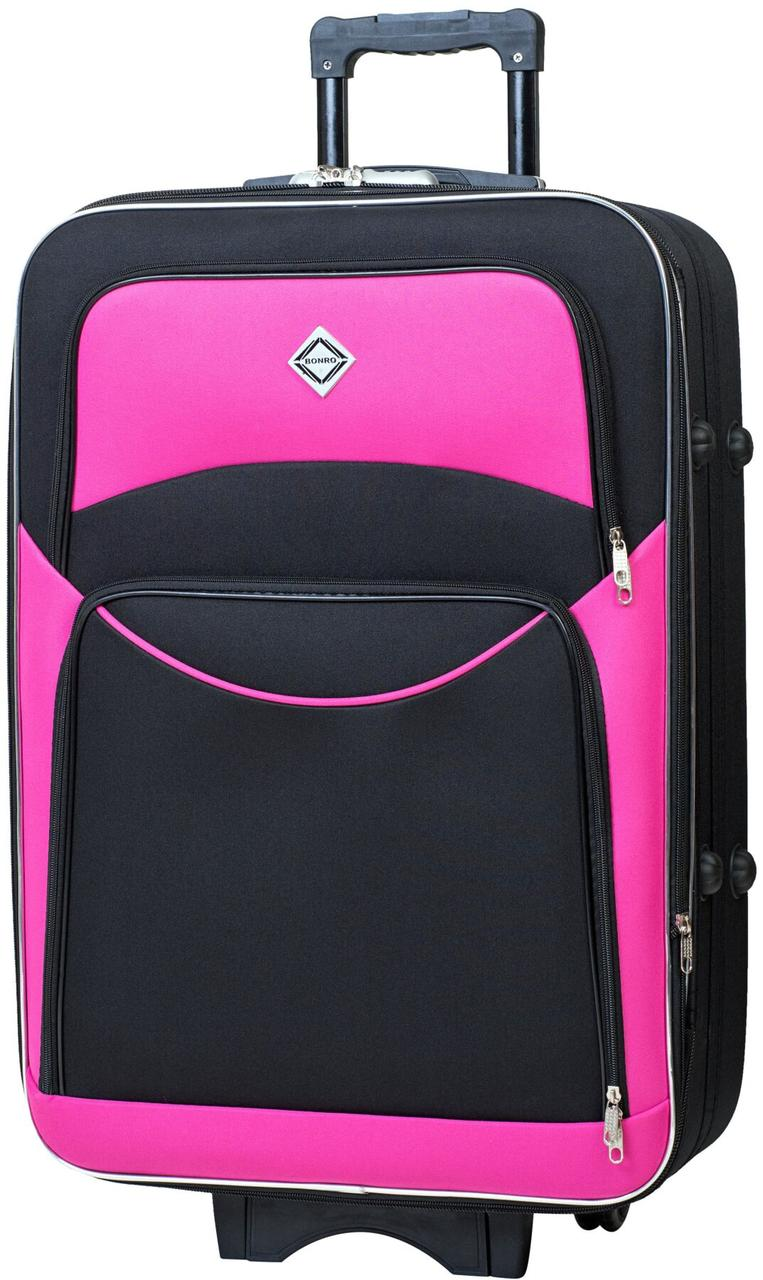 Дорожный чемодан на колесах Bonro Style маленький чёрный с розовым