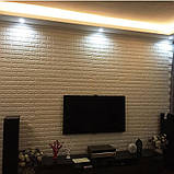 3Д панель декоративная самоклеющаяся стеновая под кирпич Бежевый 7 мм, фото 5