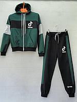 """Спортивный костюм детский """"Tik Tok"""". Возраст 8-12 лет. Зеленый с черным. Оптом"""
