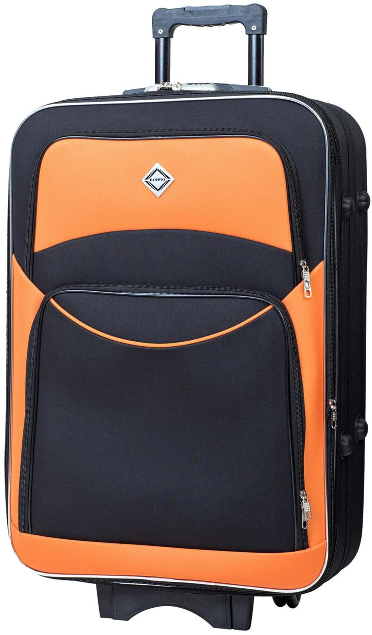 Чемодан дорожный Bonro Style средний чёрно-оранжевый